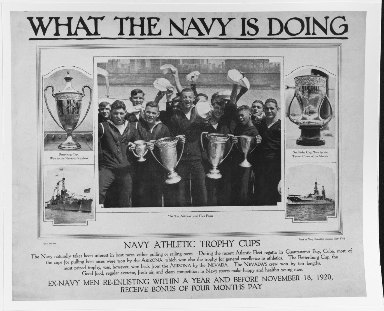 Recruiting Poster: What the Navy is Doing: Navy Athletic Trophy Cups