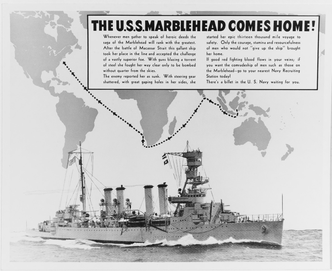 "Navy recruiting poster, ""The U.S.S. MARBLEHEAD Comes Home!"""
