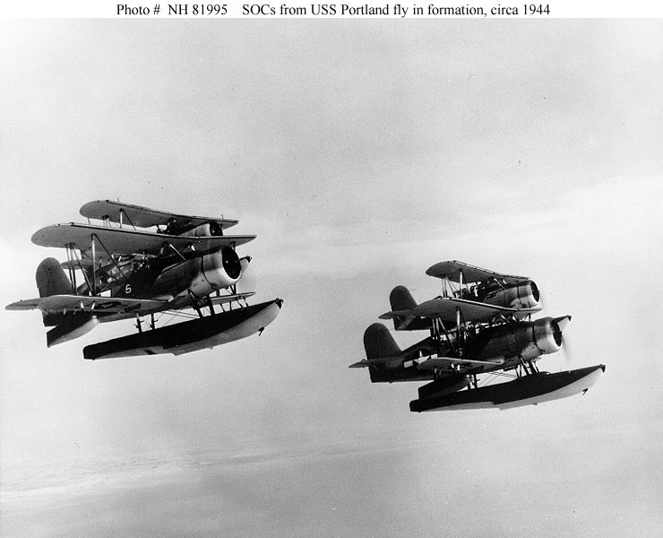 "Photo #: NH 81995  Curtiss SOC-3 ""Seagull"" floatplanes"