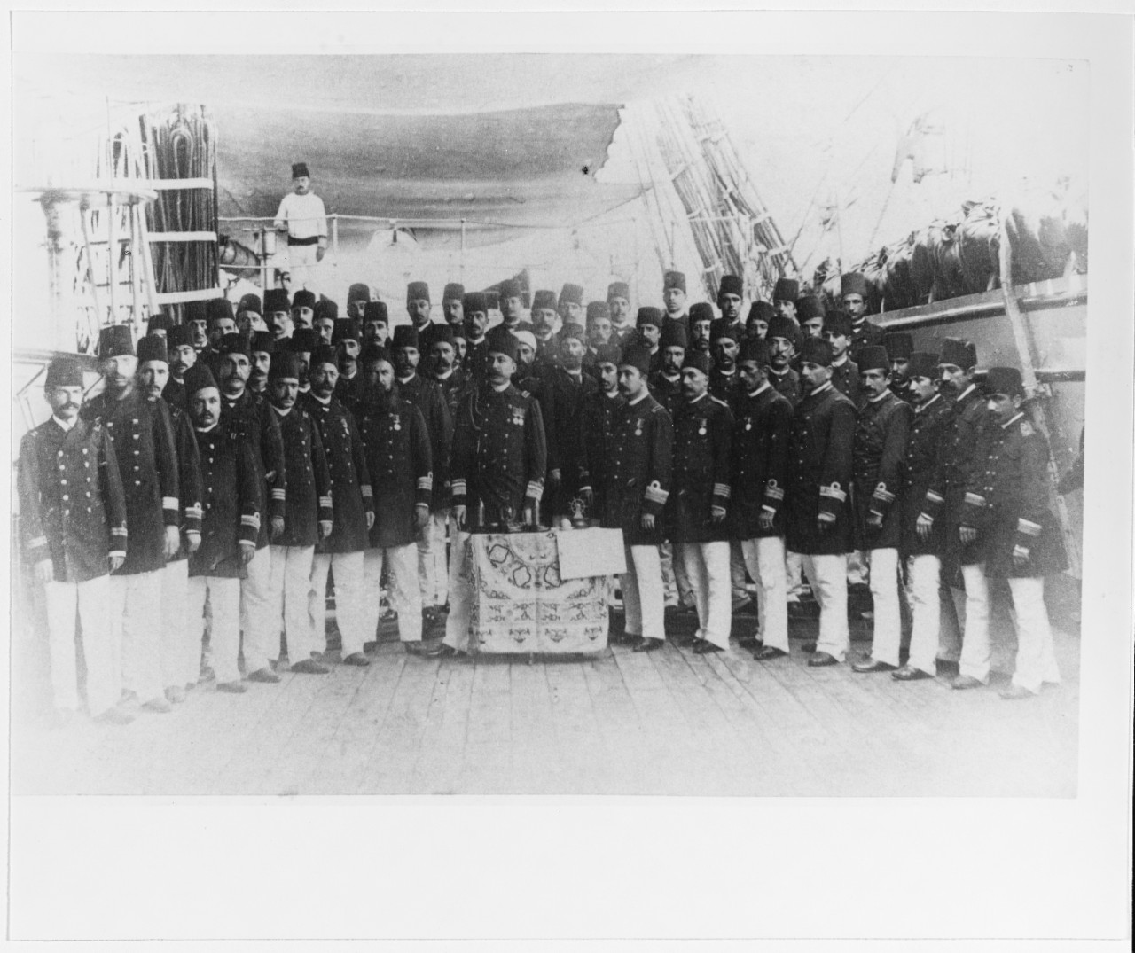 Turkish naval personnel aboard a Turkish warship, circa 1890.