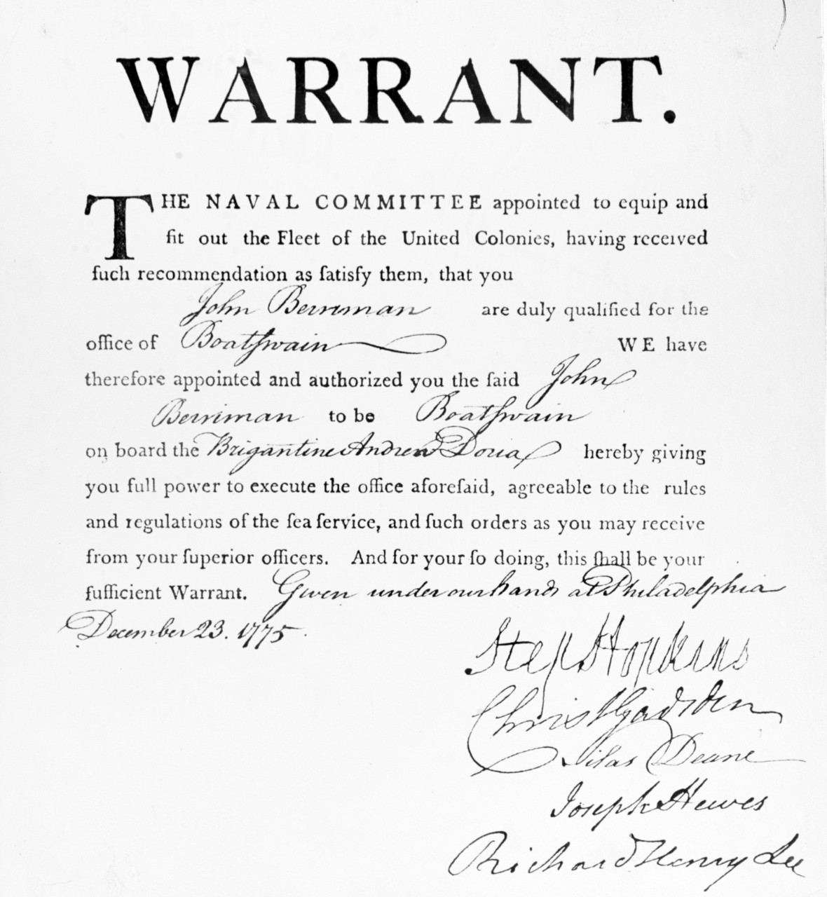 Continental Navy Warrant, 1775
