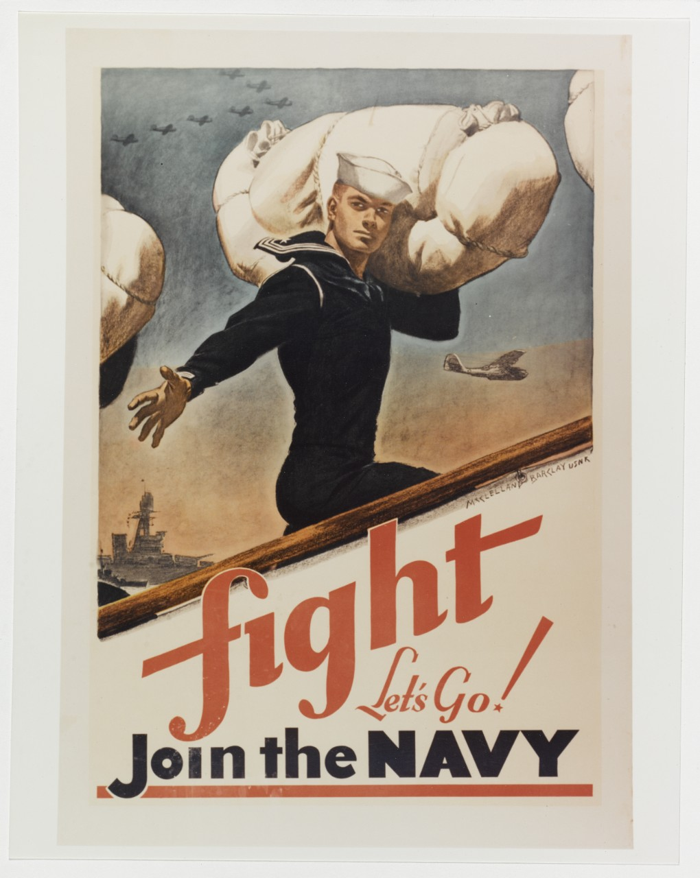 "Recruiting poster:  ""Fight, Let's Go! Join the Navy"""