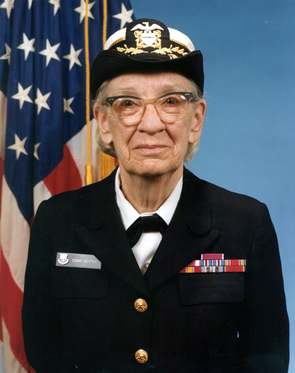 Photo #: NH 96919-KN Official portrait photograph of Commodore Grace M. Hopper, USNR. Original photo number DN-SC-84-05970.