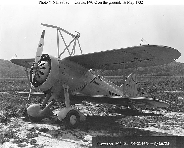 "Photo #: NH 98097  Curtiss F9C-2 ""Sparrowhawk"" fighter"