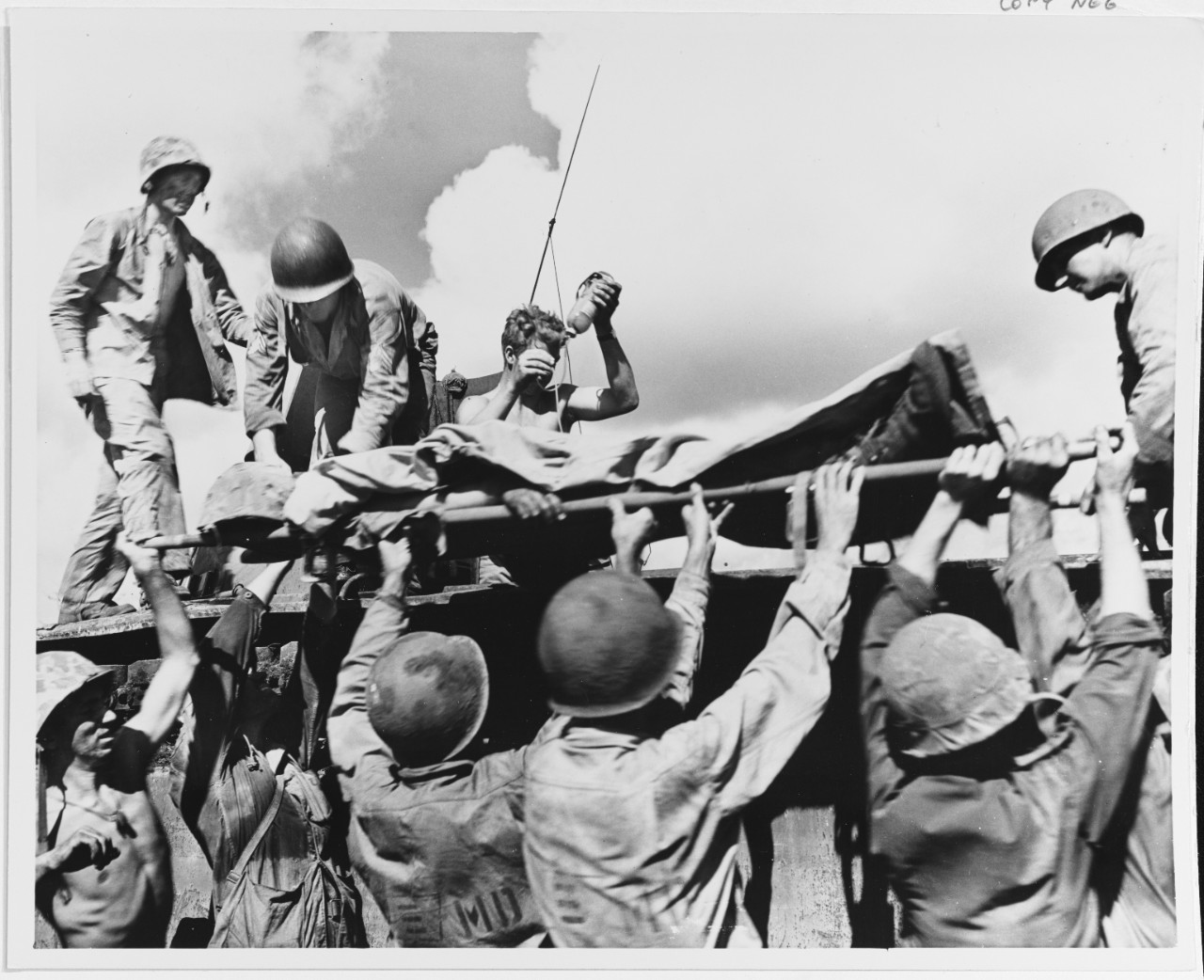 Tinian Invasion, 1944, Evacuation of wounded Marine