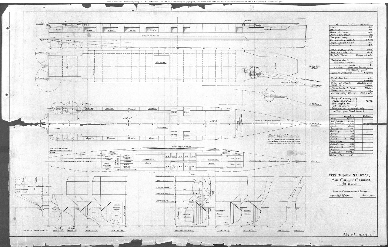 "Photo #: S-584-167  ""Preliminary Study # 2. ... Air Craft Carrier ... 32-3/4 knot"", November 17, 1920 Note:"