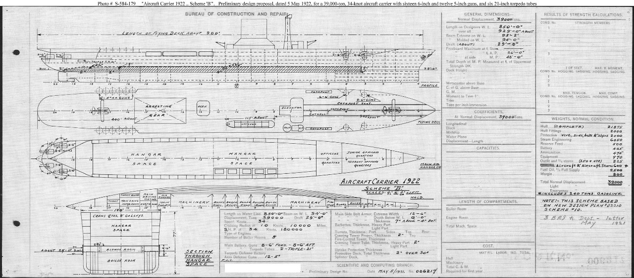 "Photo #: S-584-179  ""Aircraft Carrier 1922--Scheme 'B'"" ... May 5, 1921 Note:"