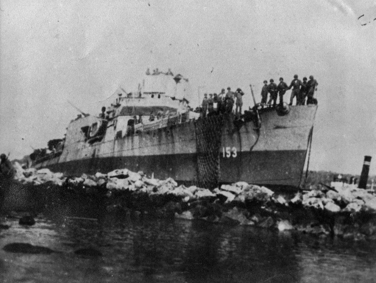 USS Bernadou (DD-153) after landing operations at Safi, French Morocco during Operation Torch landings, November 1942. The destroyer had been modified to land troops in the invasion.