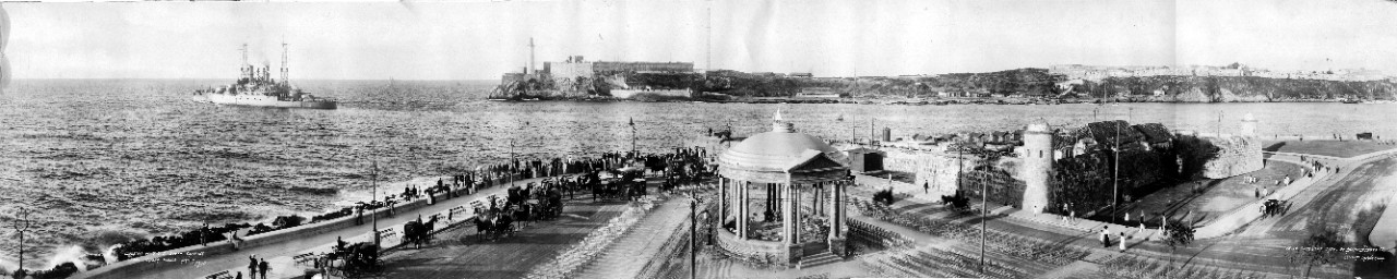 Oversized panoramic of the departure of USS South Carolina (BB-26) from Havana Harbor, Cuba, April 1910.