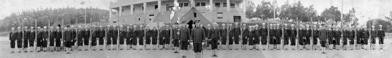 Oversized panoramic of stretcher bearers on parade/roll call at Naval Training Station Yerba Buena, CA.