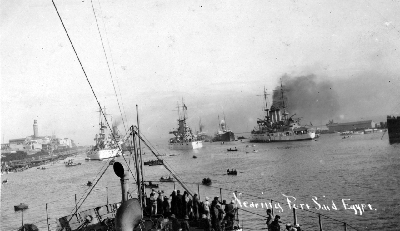 "Photo #: NH 101494  The ""Great White Fleet"" transits the Suez Canal, January 1909"