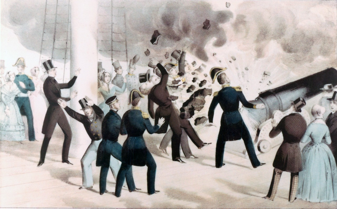 "(Color) ""Awful Explosion of the 'Peace-Maker' on board the U.S. Steam Frigate Princeton, on Wednesday, 28th Feby. 1844"""
