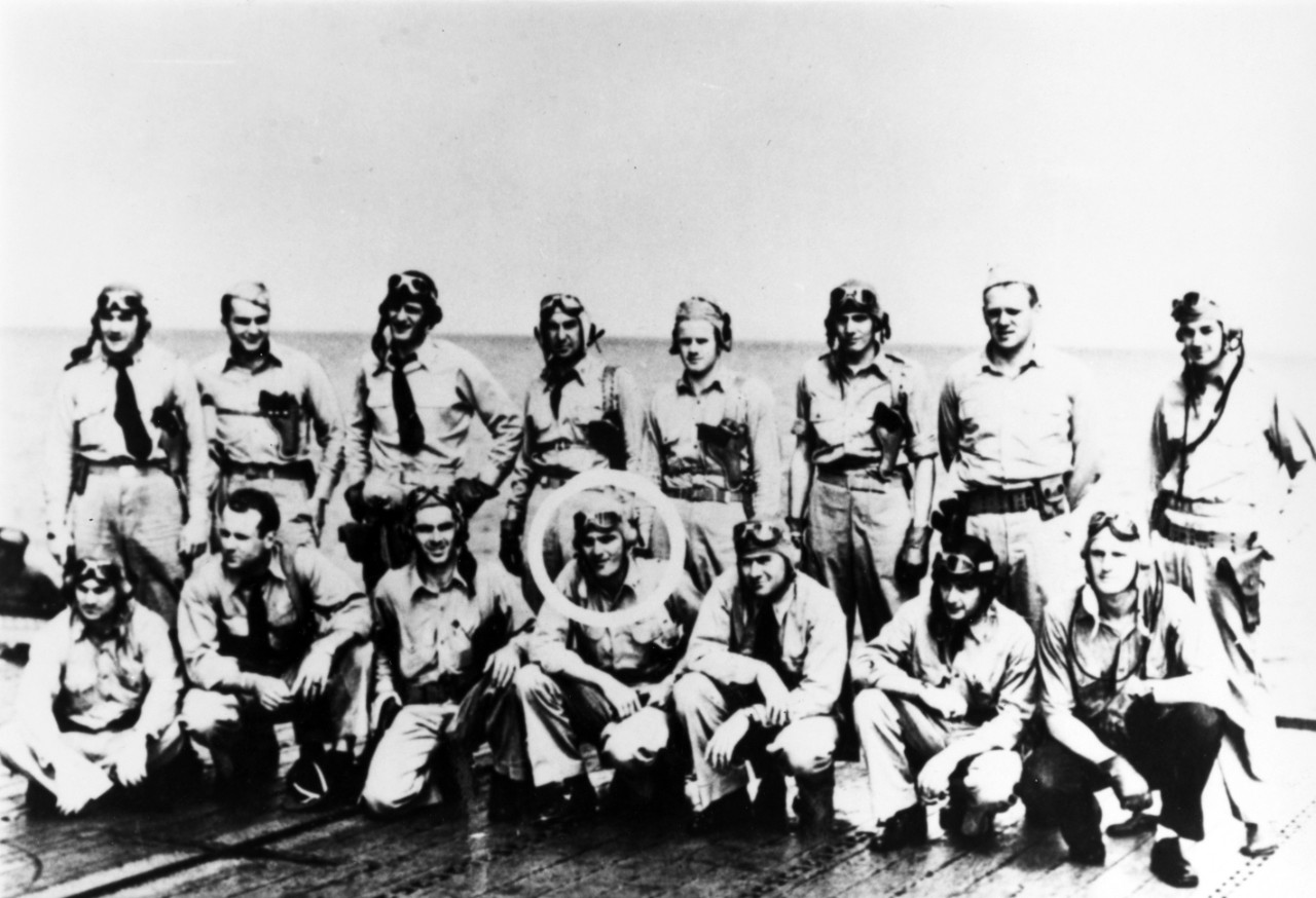 Photo #: NH 93595 Torpedo Squadron Eight (VT-8) Pilots (Front row, kneeling, left to right): (Back row, standing, left to right):