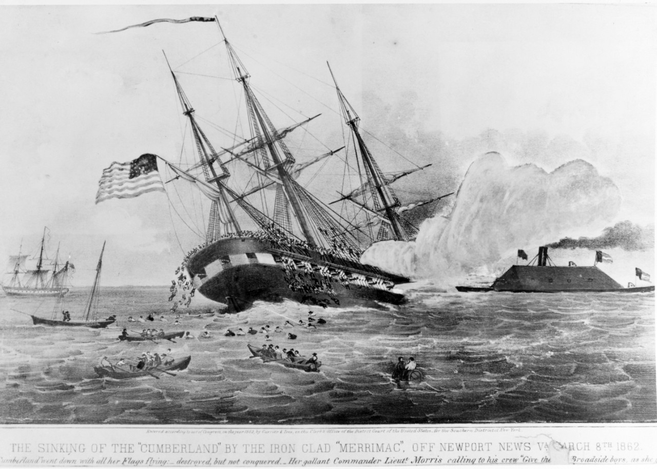 Photo #: NH 64088-KN USS Cumberland sunk by CSS Virginia (ex-USS Merrimack), 8 March 1862