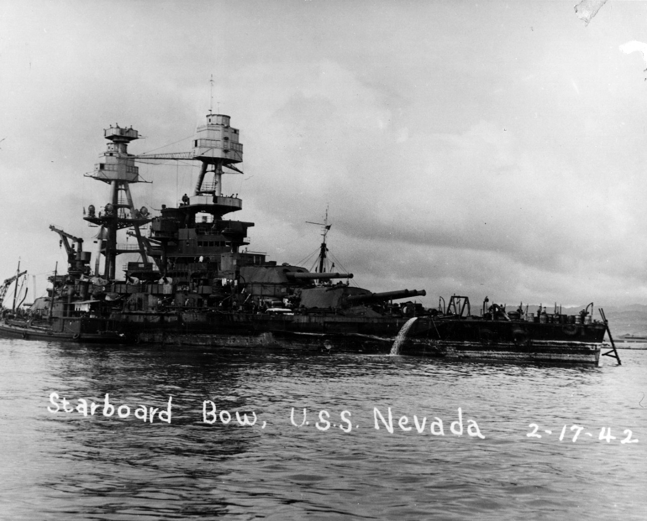 Photo #: NH 50105  Salvage of USS Nevada (BB-36), 1941-42