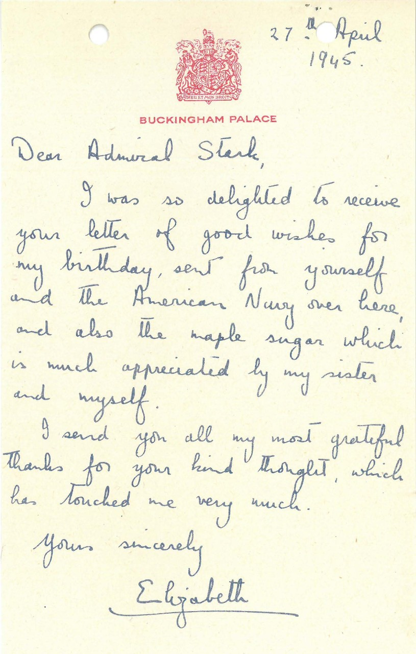 Letter from Princess Elizabeth to Admiral Stark, April 27, 1945
