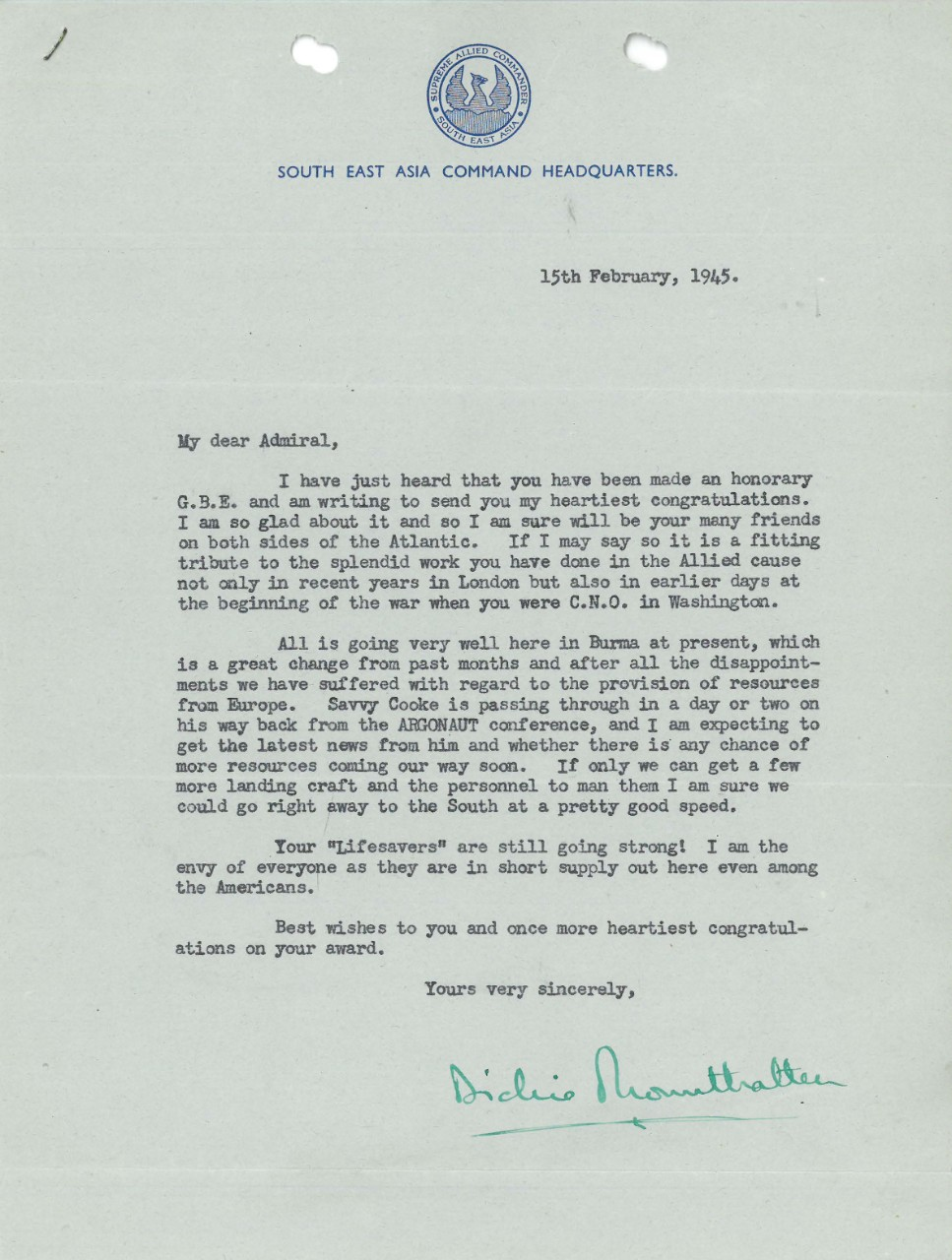 Letter from Lord Mountbatten to Admiral Stark dated Feb. 15, 1945