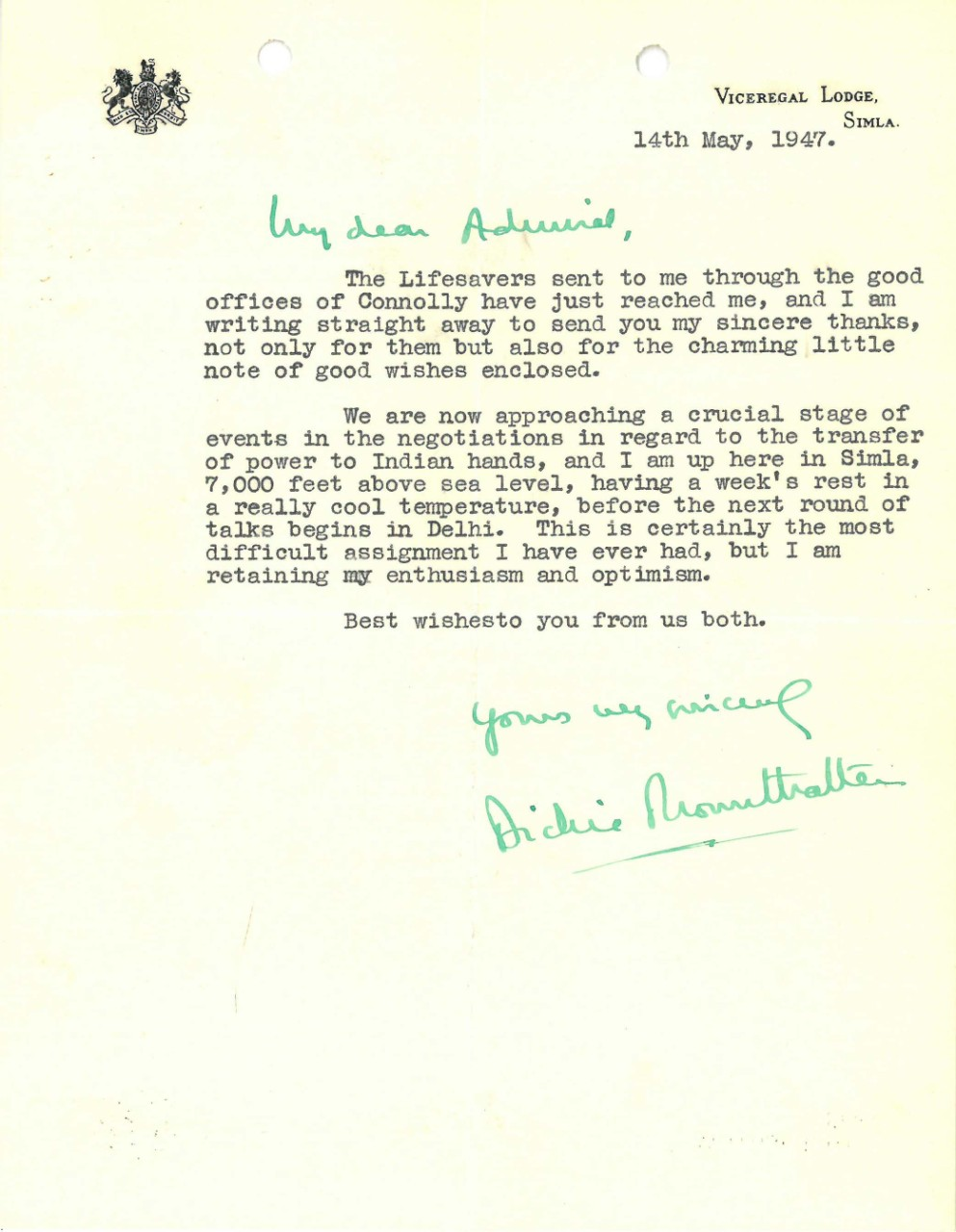 Letter from Lord Mountbatten to Admiral Stark dated May 14, 1947