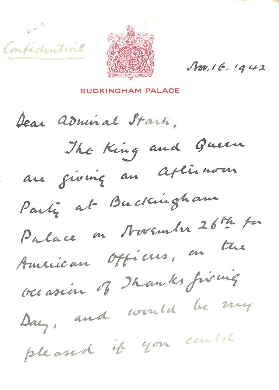 Letter from Buckingham Palace to Admiral Stark, November 16, 1942 (page 1)