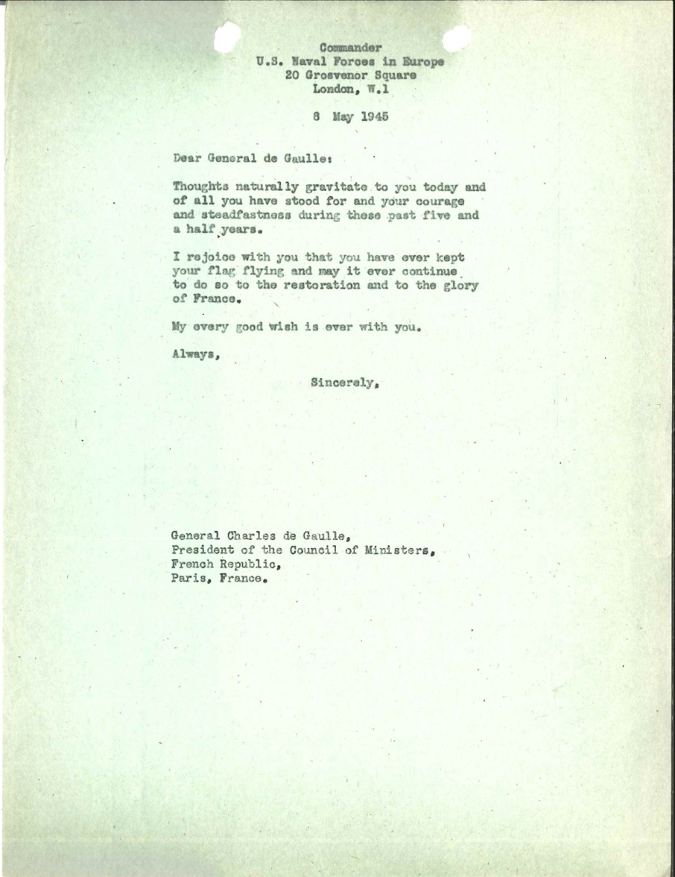<p>Letter from Admiral Harold Stark to Charles de Gaulle, May 8, 1945</p>