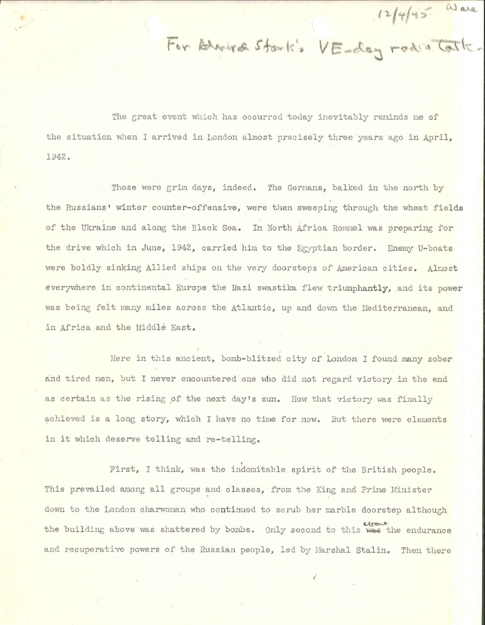 <p>Admiral Harold Stark VE Day radio broadcast 2, page 1</p>