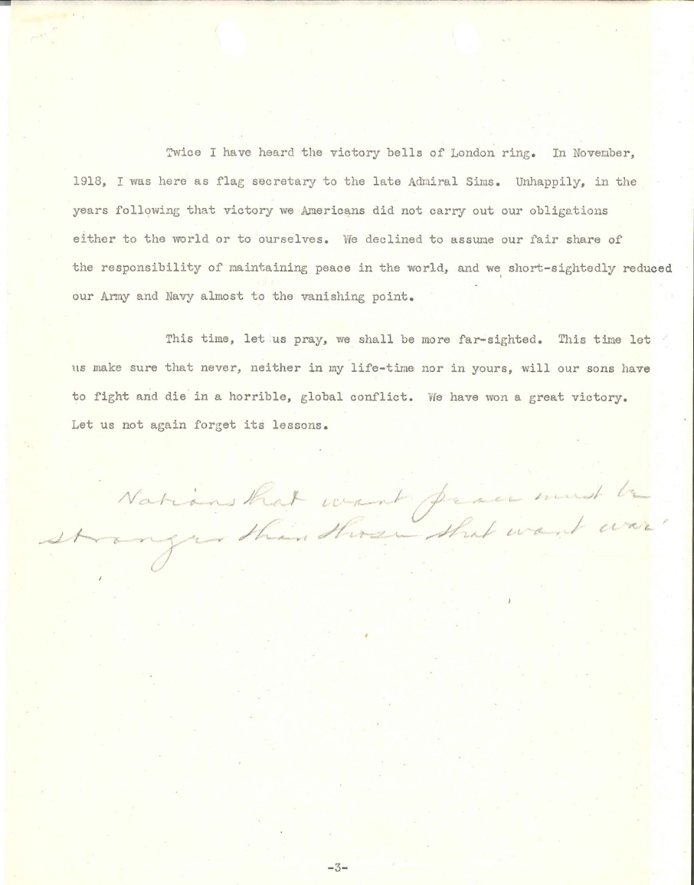 <p>Admiral Harold Stark VE Day radio broadcast 2, page 3</p>