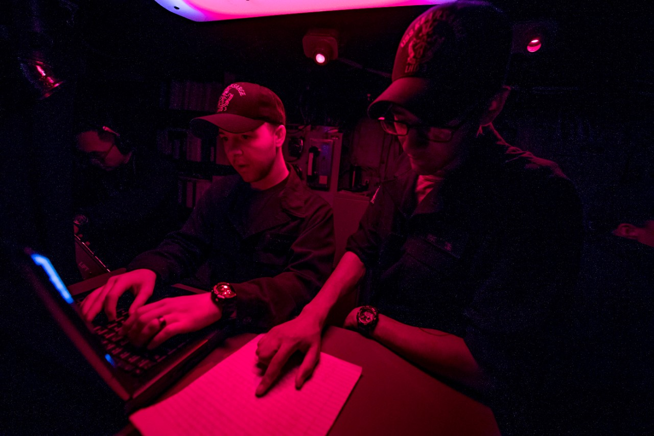 <p>MEDITERRANEAN SEA (Jan. 01, 2019) Quartermaster Seaman Isaiah Kiel reads a New Year's poem as Quartermaster Seaman Dalton Rodgers enters it as the first official deck log entry of 2019 aboard amphibious assault ship USS Kearsarge (LHD-3). Kearsarge is on a scheduled deployment as part of the Kearsarge Amphibious Ready Group in support of maritime security operations, crisis response and theater security cooperation, while also providing a forward naval presence. (U.S. Navy photo by Mass Communication Specialist 1st Class Mike DiMestico/Released)</p>