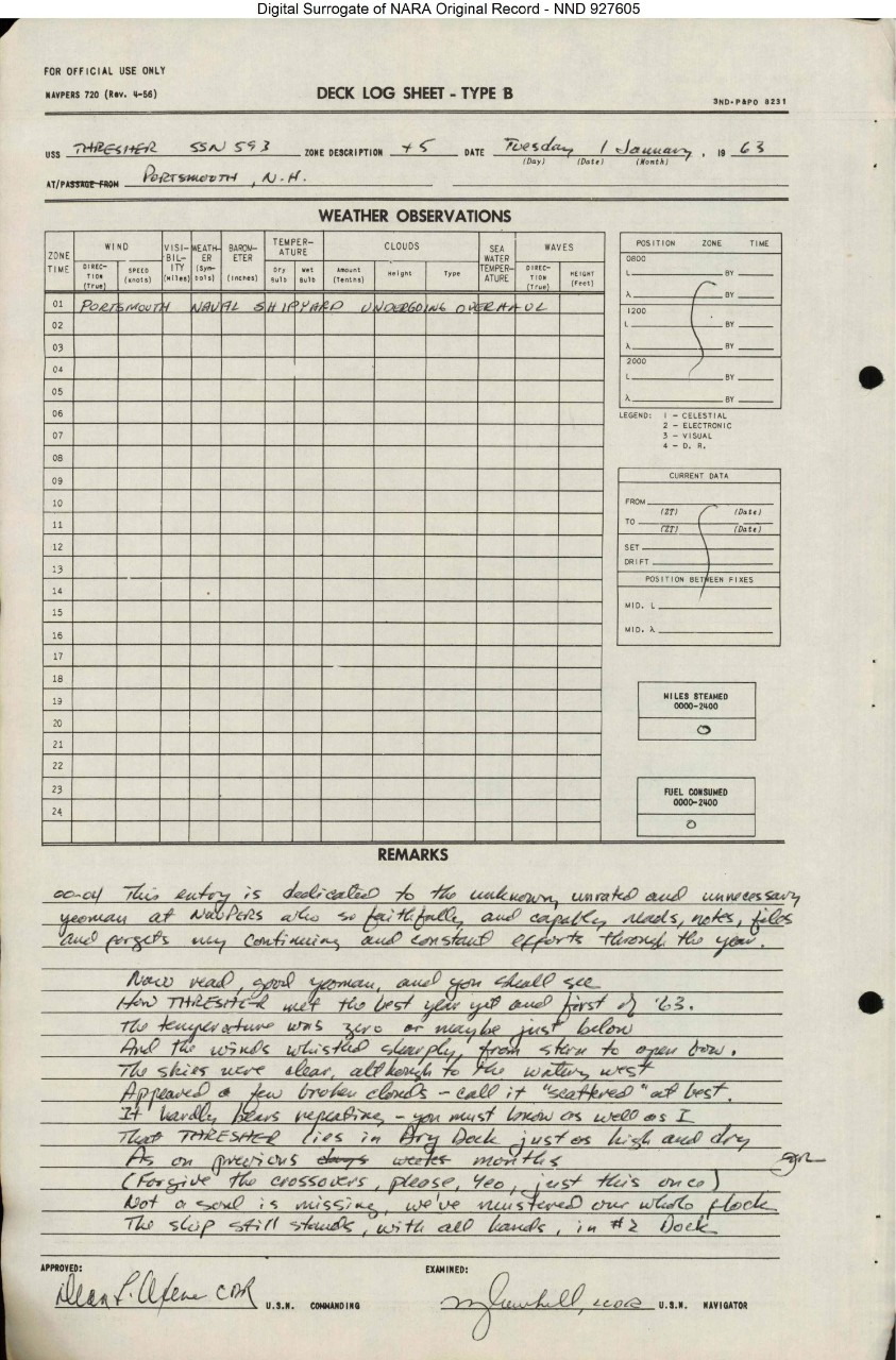 USS THRESHER (SSN-593) 1963 New Year's Deck Log Scan Image 1