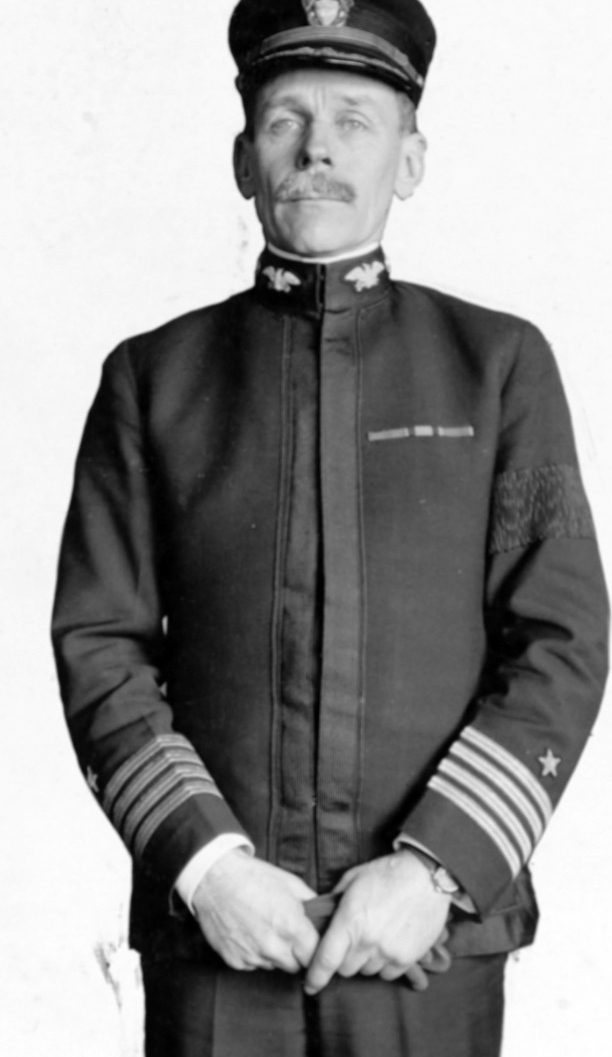 Captain Reginald Rowan Belknap in U.S. Navy uniform, commanding Mine Squad No. 1, Atlantic Fleet, 1918. Naval History and Heritage Command, NH 56136.
