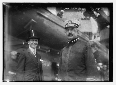 Photograph shows U.S. Navy Admiral Frank Friday Fletcher (1855-1928), Commander of the Atlantic fleet probably on the USS Wyoming for the Naval review of May, 1915, in New York City. (Source: Library of Congress, Flickr Commons project, 2012)