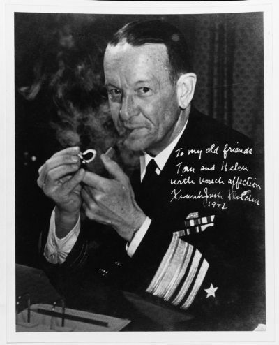 Vice Admiral Frank Jack Fletcher, USN. Autographed to Admiral and Mrs. Thomas Kinkaid. Courtesy of Admiral Thomas C. Kinkaid. (NH 91214)