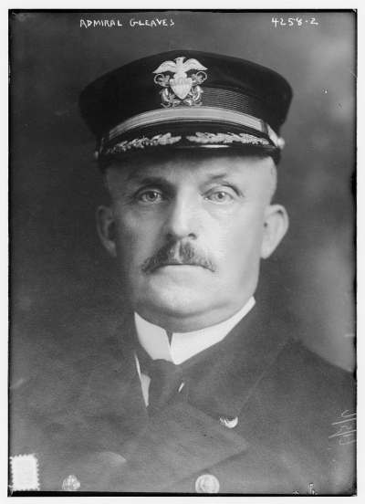 Photograph shows Admiral Albert Gleaves (1858-1937), 5 July 1917, who served in the U.S. Navy and was also a naval historian. (Source: Flickr Commons project, 2015).  Available from Library of Congress LC-B2- 4258-2 [P&P].