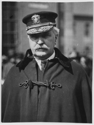 Rear Admiral James H. Glennon, USN, Commandant, Third Naval District Photographed at New York City, circa 1919. Note details of his boat cloak. U.S. Naval History and Heritage Command Photograph, NH 49336.