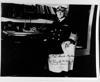 Admiral McVay, CinC Asiatic Fleet aboard his flagship USS Houston (CA 30), 1931. (NHHC Photo Collection 85115)