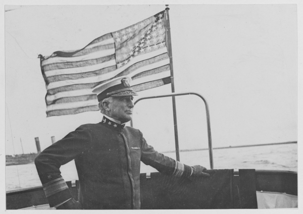 Rear Admiral Henry B. Wilson aboard The VEDETTE. Brest France, Mon, Sep 30, 1918, NH 119538.