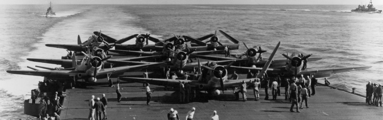 Torpedo Squadron Six (VT-6) TBD-1 aircraft are prepared for launching on USS Enterprise (CV-6) at about 0730-0740 hrs, 4 June 1942.