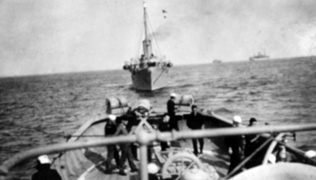 Aphrodite engaged in convoy escort during World War I photographed from a fellow escorting ship. (Naval History and Heritage Command Photograph NH 57627)