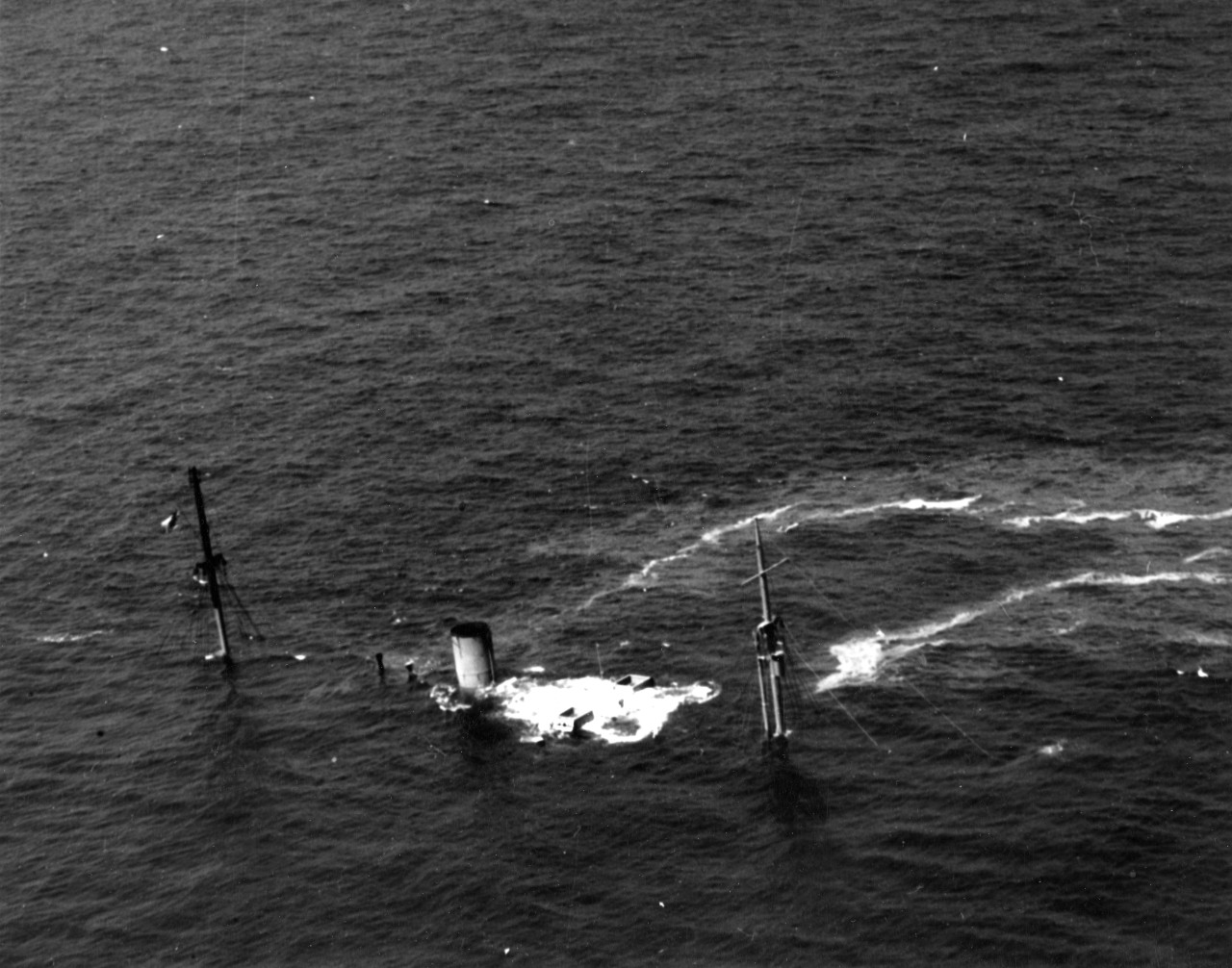 Empire Thrush, victim of U-203, lying on the bottom, 10-12 miles due east of the Cape Hatteras Lighthouse. Asterion rescued her entire crew on 14 April 1942. (U.S. Navy Photograph 80-CF-1054-3, National Archives and Records Administration, Still Pictures Branch, College Park, Md.)