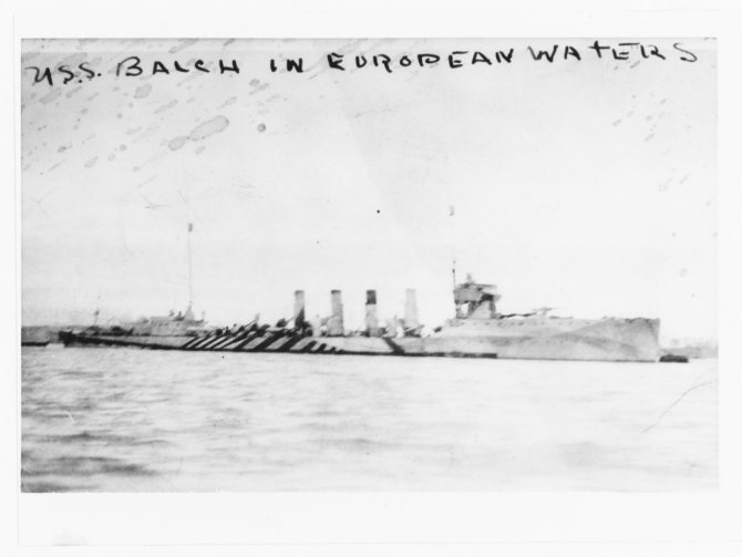 Balch moored in European waters, circa 1917 or early 1918. Note her camouflage scheme. Courtesy of Ted Stone, 1985. (U.S. Naval History and Heritage Command Photograph. NH 100429)