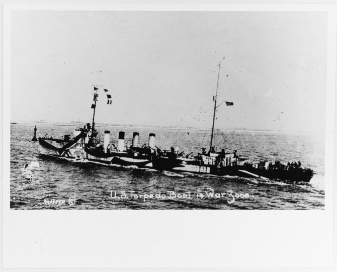 Balch underway in 1918, while serving in the European war zone. Note her dazzle camouflage. Photographed by Shaffer. Courtesy of Donald M. McPherson, 1978. (U.S. Naval History and Heritage Command Photograph. NH 88085)