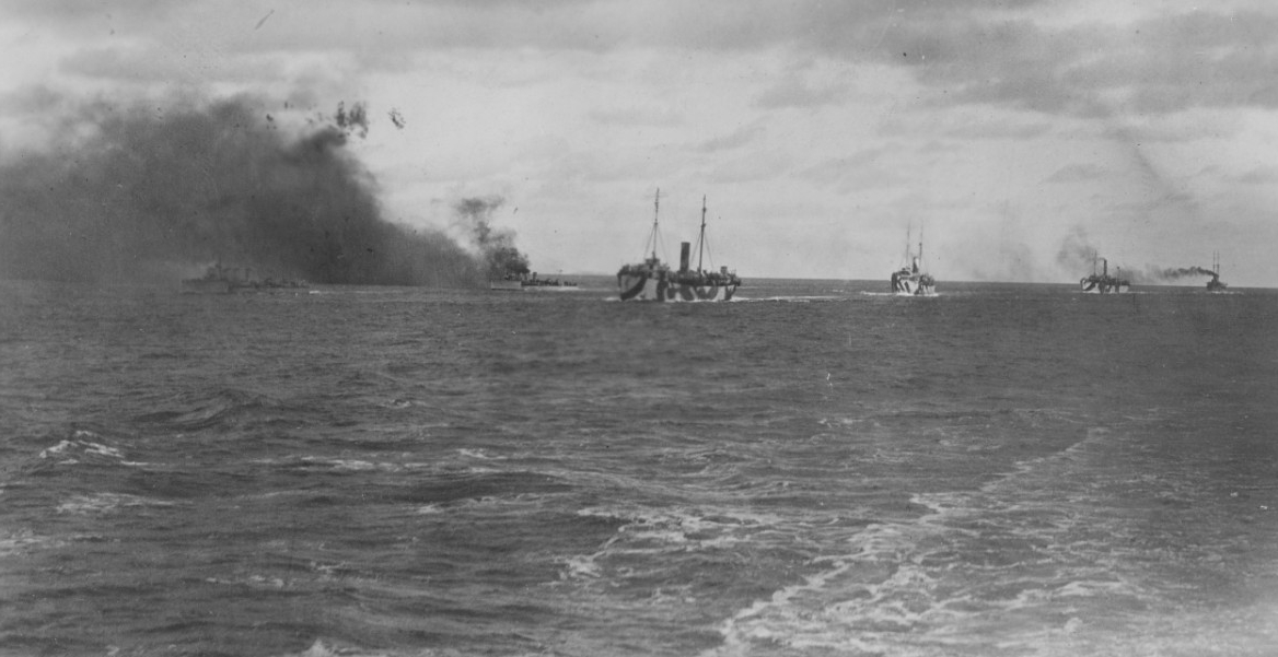 Smoke screen made by British destroyers to protect Mine Squadron 1, September 1918. (Naval History and Heritage Command Photograph NH 109915)