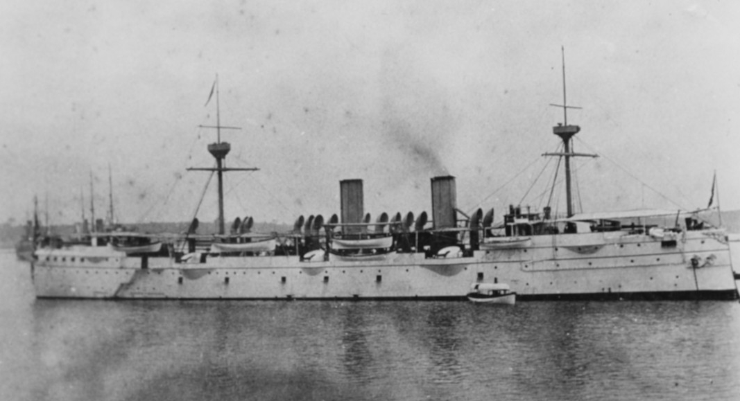 Baltimore anchored at Yokohama, Japan, 1894, while serving as flagship of the Asiatic Station. Donation of Rear Adm. Ammen C. Farenholt, USN (MC), 1933. (Naval History and Heritage Command Photograph NH 56326)