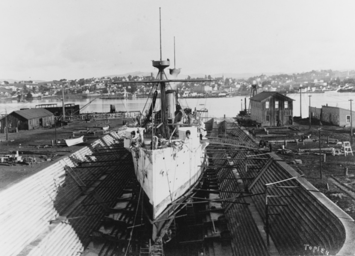 Baltimore in drydock at the Mare Island Navy Yard during the 1890s. Photographed by William H. Topley. Collection of William H. Topley. Courtesy of Charles M. Loring, 1970. (Naval History and Heritage Command Photograph NH 71055)