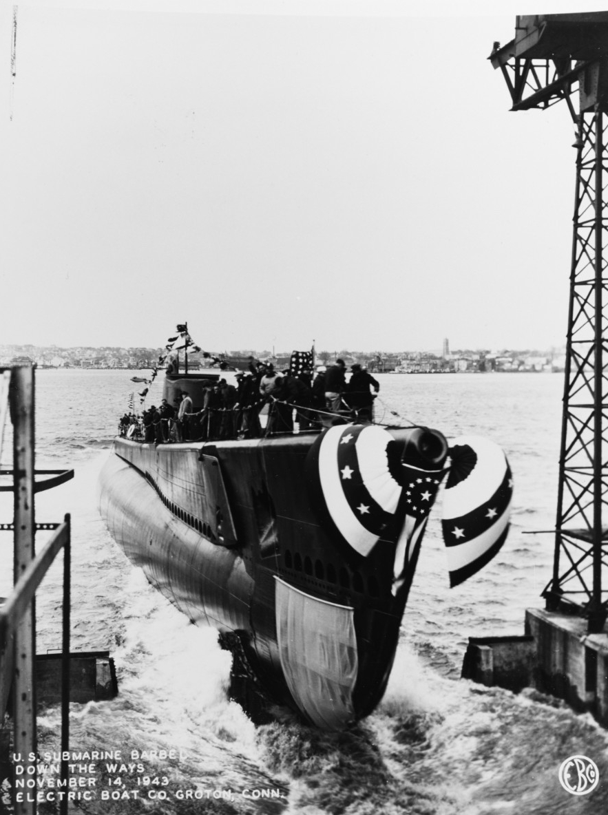 Barbel enters her element at the Electric Boat Co., Groton, 14 November 1943 (U.S. Navy Photograph 80-G-216385, National Archives and Records Administration, Still Pictures Division, College Park, Md.)