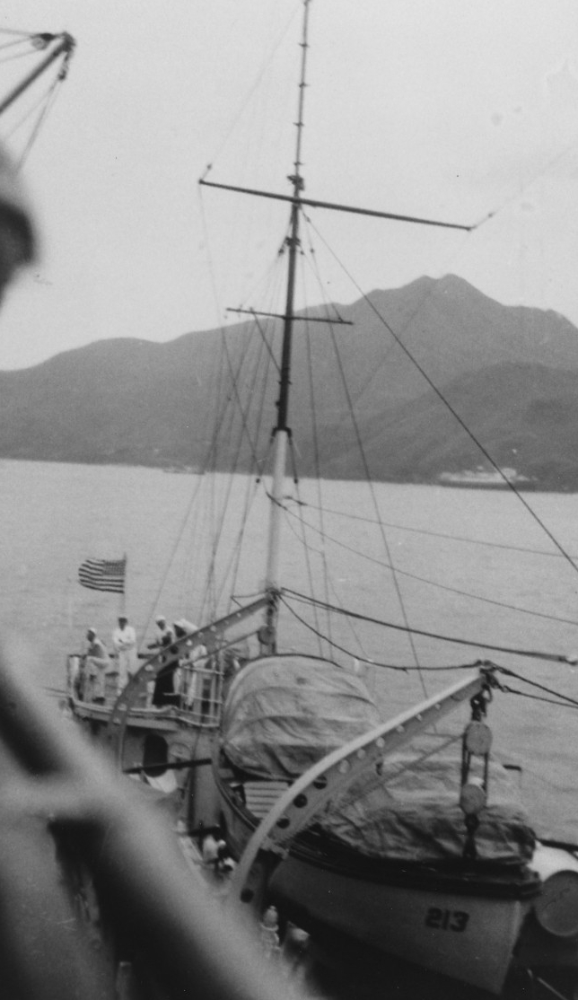 Barker moors alongside another ship, probably patrol vessel (converted yacht) Isabel (PY-10), off the south China coast, circa 1938. Only Barker's after portion is visible, including a boat and its davits, the mainmast and the top of the after superstructure. (Courtesy of the Naval Historical Foundation, Collection of Adm. Harry E. Yarnell, Naval History and Heritage Command Photograph NH 83549).