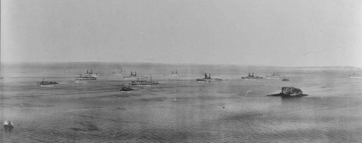 The combined Atlantic and Pacific Fleets in Panama Bay, 21 January 1921. This is the middle section (of three) of a panoramic photograph taken by M.C. Mayberry, of Mayberry & Smith, Shreveport, La. (the other views in the series are Photos NH 86082-A and NH 86082-C). Among the ships present in this image are (left to right): Stoddert (Destroyer No. 302), Melville (Destroyer Tender No. 2), Texas (Battleship No. 35), minesweeper Partridge (Minesweeper No. 16), Birmingham, Arkansas (Battleship No. 33), Idaho (Battleship No. 42), Mississippi (Battleship No. 41), Wyoming (Battleship No. 32), New York (BB-34), New Mexico (Battleship No. 40), and Pennsylvania (Battleship No. 38). (Naval History and Heritage Command Photograph NH 86082-B).