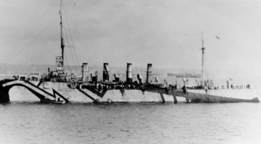 Birmingham sports her dazzle camouflage while visiting Brest, France, 15 October 1918. (Naval History and Heritage Command Photograph NH 56393)