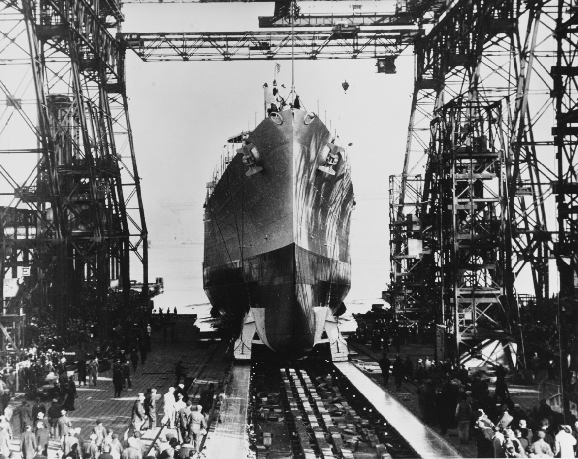 Brooklyn is launched at the New York Navy Yard, 30 November 1936. (U.S. Navy Photograph 80-G-1025118, National Archives and Records Administration, Still Pictures Division, College Park, Md.)