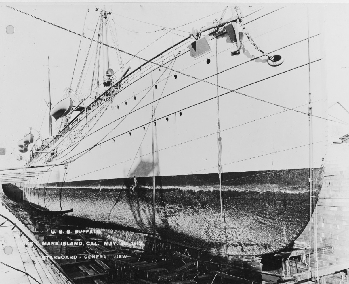Buffalo drydocked at the Mare Island Navy Yard on 20 May 1913, showing fouling on the ship's hull. (Naval History and Heritage Command Photograph NH 78675)