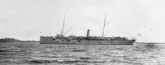 Buffalo off Nicaragua after having conveyed the Panama-Pacific International Exposition Commissioners to Corinto, December 1913. (Naval History and Heritage Command Photograph NH 105587)